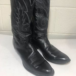 Tony Lama Black Leather Western Boots sz 10
